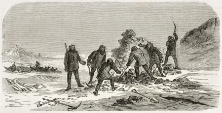 Men excavating old illustration. Created by Lncelot and Trichon, published on Le Tour du Monde, Paris, 1860