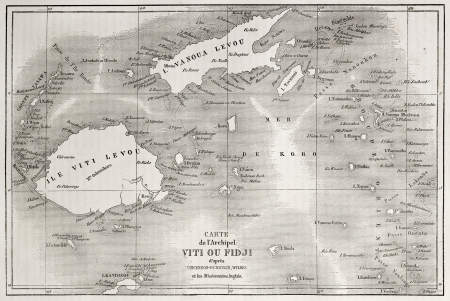fiji: Old map of Fiji islands. Created by Erhard and Bonaparte after Vincendon, Dumoulin, Wilkes and British Missionaries, published on Le Tour du Monde, Paris, 1860