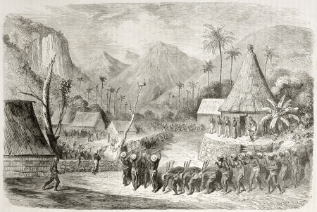 fiji: Old illustration of Fiji islands warriors dance. Created by Dore after Wilkes, published on Le Tour du Monde, Paris, 1860