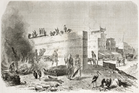 Old illustration of a funeral pyre in Kolkota. Created by Therond after Andrasay, published on Le Tour du Monde, Paris, 1960 Stock Photo - 15055489
