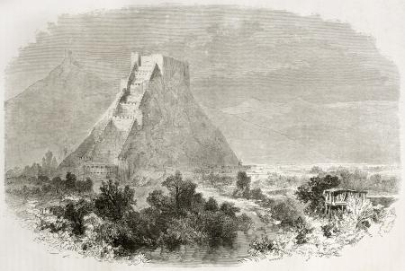 caucasian ancestry: Old view of Gori castle, Georgia. Created by Francais after Moynet, published on Le Tour du Monde, Paris, 1860