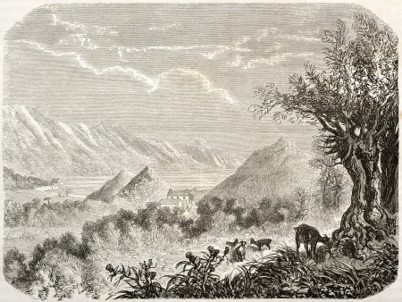bosnia: Old view of Gradina, Bosna-Herzegovina. Created by Grandsire after Lejean, published on Le Tour du Monde, Paris, 1860