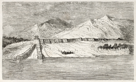 Great Wall of China near the gulf of Pecheli. Created by Dore after Trevise, published on Le Tour du Monde, Paris, 1860