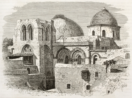Old engraved illustration of the Church of the Holy Sepulchre, Jerusalem. Created by Therond after photo of unknown author, published on Le Tour du Monde, Paris, 1860