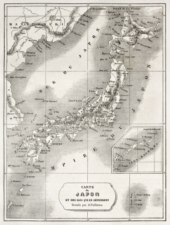 asian ancestry: Japan old map. Created by Vuillemin and Erhard, published on Le Tour du Monde, Paris, 1860  Editorial