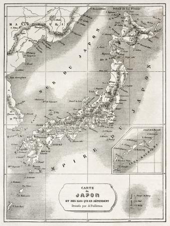 Japan old map. Created by Vuillemin and Erhard, published on Le Tour du Monde, Paris, 1860  Éditoriale