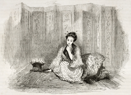 Japanese lady engraved portrait. Created by Marin after Trevise, published on Le Tour du Monde, Paris, 1860