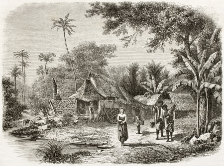 Old illustration of natives village in Java island, Indonesia. Created by De Bar and Maurand, published on Le Tour du Monde, Paris, 1960 Editorial