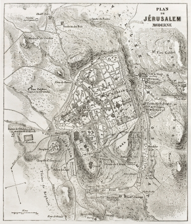 topographical: Jerusalem old map. Created by Villemin after Gerardy, published on Le Tour du Monde, Paris, 1860
