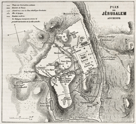 palestinian: Old plan of Jerusalem. Created by Villemin after Gerardy, published on Le Tour du Monde, Paris, 1860 Editorial