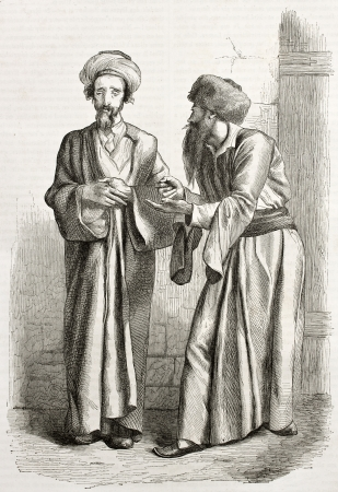 Old illustration of Jews in Jerusalem. Created by Bida and Manini, published on Le Tour du Monde, Paris, 1860 Editorial