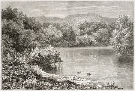 the hashemite kingdom of jordan: Old view of the Jordan river. Created by Daubigny after photo of unknown author, published on Le Tour du Monde, Paris, 1860 Editorial