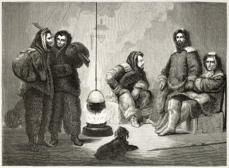 Kane (sitting central figure) and companions old illustration during Arctic expedition. Created by Stahl after Kane, published on Le Tour du Monde, Paris, 1860