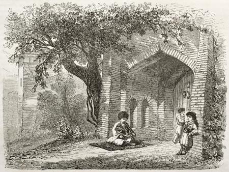 caucasian ancestry: Old illustration of Lezgian house entrance. Created by Moynet, published on Le Tour du Monde, Paris, 1860
