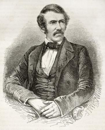 missionary: David Livingston old engraved portrait. Created by Fath, Pannemaker and Ligny, published on Le Tour du Monde, Paris, 1860