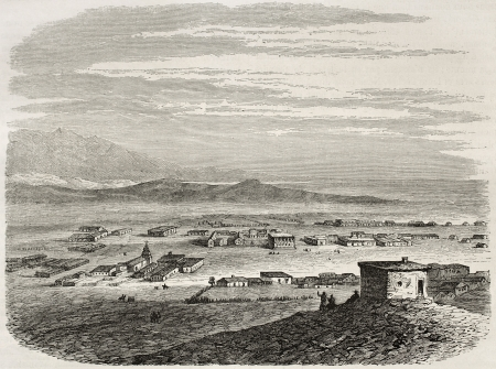 Old view of El Pueblo de Los Angeles, the future metropolis. Created by De Berard after report made under the direction of the U.S. secretary of the war. Published on Le Tour du Monde, Paris, 1860