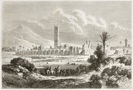 african ancestry: Old view of Marrakesh. Created by De Berard after Jackson, published on Le Tour du Monde, Paris, 1860