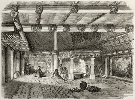 fiji: Old illustration of a Mbure-ni-sa (house of foreigners) in Fiji islands. Created by Lancelot after Wilkes, published on Le Tour du Monde, Paris, 1860