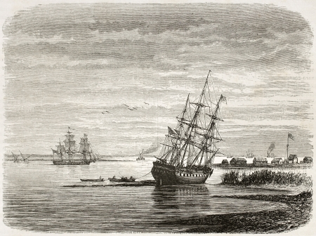 gulf of mexico: Mississipi mouth, old illustration. Created by De Berard after Reclus, published on le Tour du Monde, Paris, 1860