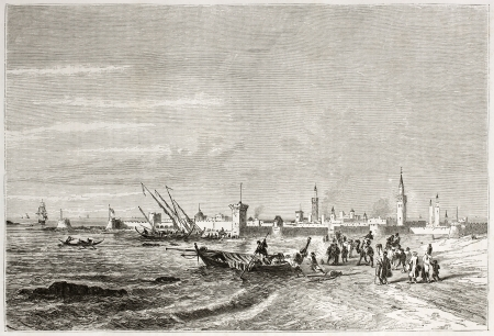 old fashioned sepia: Old view of Mogador (Essaouira). Created by Jules Noel after Jackson, published on Le Tour du Monde, Paris, 1860  Editorial