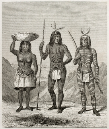 Old illsutration of Mohave people, native American. Created by Duveaux and Huyot after report made under the direction of the U.S. secretary of the war. Published on Le Tour du Monde, Paris, 1860