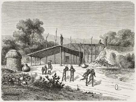 Antigua ilustración de Mohave nativos americanos jugando juegos ring. Creado por Lancelot después Mollhausen, publicado en Le Tour du Monde, París, 1860 Editorial