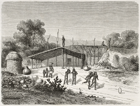 Old illustration of Mohave native Americans playing ring game. Created by Lancelot after Mollhausen, Published on Le Tour du Monde, Paris, 1860