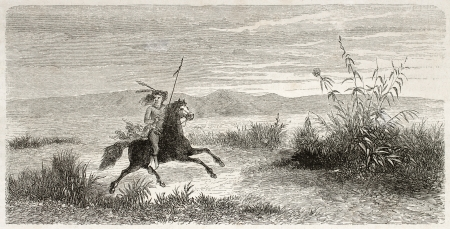 Old illustration of Mohave native American riding. Created by Lancelot after report made under the direction of the U.S. secretary of the war. Published on Le Tour du Monde, Paris, 1860