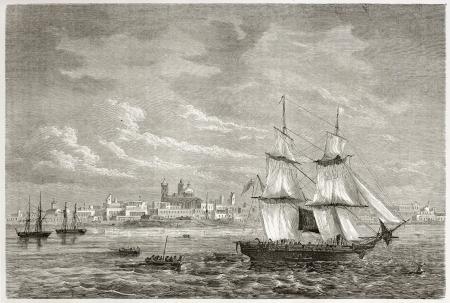 Old view of Montevideo (1823). Created by D'Hastrel, published on Le Tour du Monde, Paris, 1860