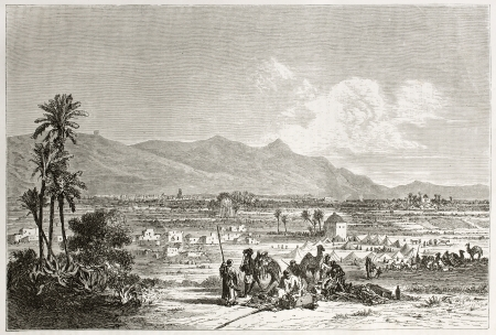 Old illustration depicting a Moroccan landscape. Created by Jules Noel after Jackson, published on Le Tour du Monde, Paris, 1860