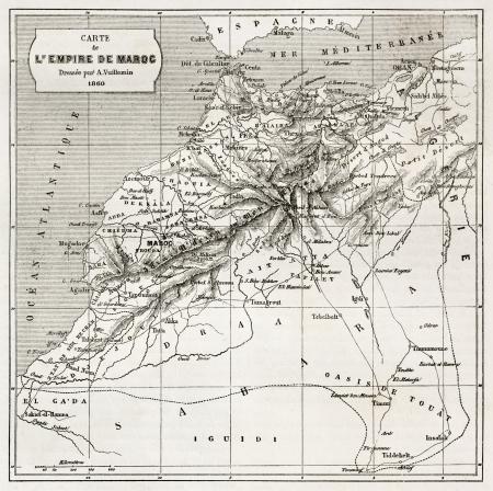 Morocco old map.  Created by Erhard and Bonaparte, published on Le Tour du Monde, Paris, 1860  Éditoriale
