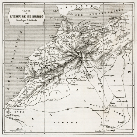 Morocco old map.  Created by Erhard and Bonaparte, published on Le Tour du Monde, Paris, 1860  Editorial