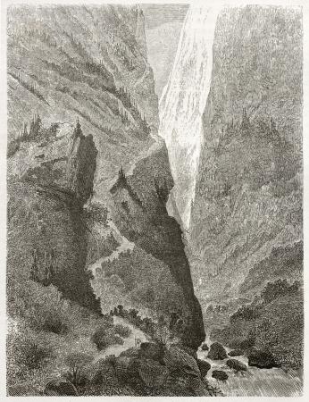 caucasian ancestry: Old view of Mount Shkhara, Georgia. Created by Moynet, published on Le Tour du Monde, Paris, 1860