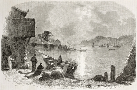 francais: Old view of Nagasaky bay, Japan. Created by Francais after Trevise, published on Le Tour du Monde, Paris, 1860