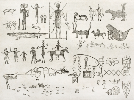 anthropology: Hieroglyphics found in a cave near Fossil Creek, Arizona. By Lancelot and Gauchard after report made under the direction of the U.S. secretary of the war. Published on Le Tour du Monde, Paris, 1860