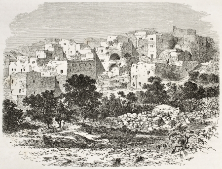 nazareth: Old view of Nazareth, Palestine. Created by Therond after photo of unknown author, published on Le Tour du Monde, Paris, 1860