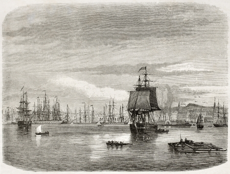 New Orleans port, old view. Created by De Berard after photo of unknown author, published on le Tour du Monde, Paris, 1860