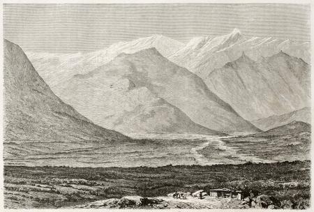 caucasian ancestry: Noukha valley (nowadays Shaki) old illustration, Azerbaijan. Created by Moynet, published on Le Tour du Monde, Paris, 1860  Editorial