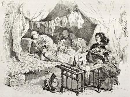 Old Darstellung Opiumrauchern in China. Erstellt von Morin, auf Le Tour du Monde, Paris, 1860