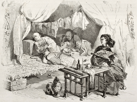 Old illustration of opium smokers in China. Created by Morin, published on Le Tour du Monde, Paris, 1860