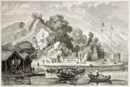 macau: Old view of the pagoda of the rocks, Macau, China. Created by Dore after Trevise, published on Le Tour du Monde, Paris, 1860