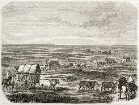 Old illustration of a convoy in the pampas, southern America. Created by Duveau after Schmidtmeyer, published on Le Tour du Monde, Paris, 1860