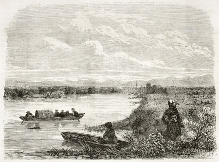 caucasian ancestry: Old view of Phasis river near the port of Poti, Georgia. Created by Moynet, published on Le Tour du Monde, Paris, 1860
