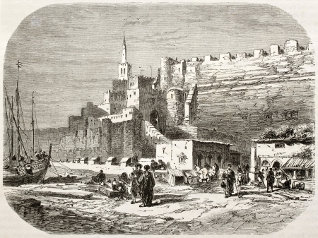 northern african: Old view of the port of Tangier. Created by Noel after photo of Schickler, published on Le Tour du Monde, Paris, 1860