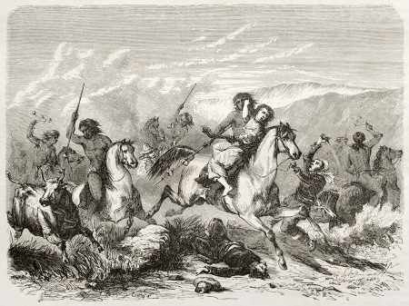incursion: Old illustration of a raid and woman rape by south American natives. Created by Duveau after Gay, published on Le Tour du Monde, Paris, 1860