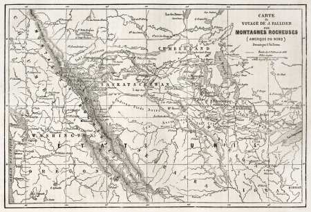 Rocky mountains old map, USA. Created bu Vuillemin, Erhard and Bonaparte, published on Le Tour du Monde, Paris, 1860