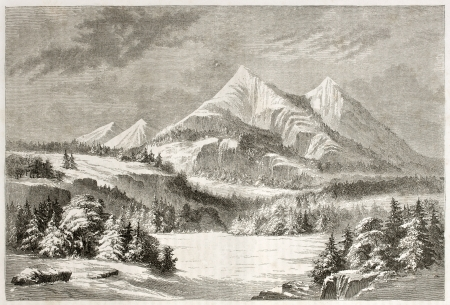 mount humphreys: Old view of San Francisco Peaks, Arizona. Created by Lancelot after report made under the direction of the U.S. secretary of the war. Published on Le Tour du Monde, Paris, 1860