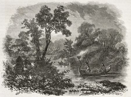 lake winnipeg: Saulteaux native Americans torch light fishing, Ontario. Created by Sabatier after Kane, published on Le Tour du Monde, Paris, 1860 Editorial