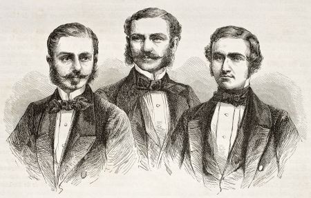 Schlagintweit brothers old engraved portraits. Created by Valentin, published on Le Tour du Monde, Paris, 1860