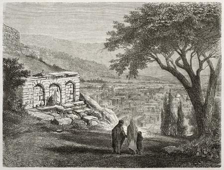azerbaijan: Old view of Shamaki, Azerbaijan. Created by Moynet, published on Le Tour du Monde, Paris, 1860